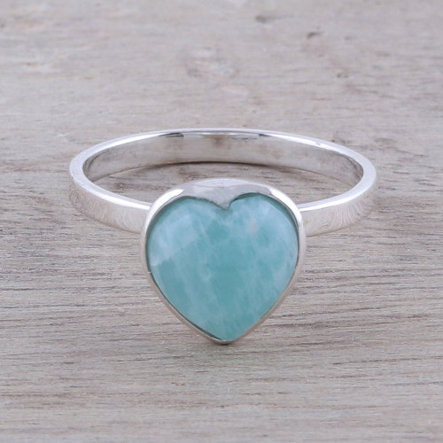 Heart-Shaped Amazonite Cocktail Ring from India 'Gemstone Heart'