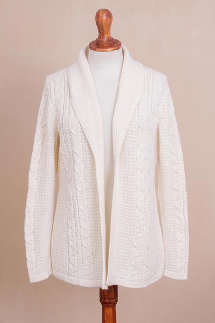 Crocheted Alpaca Blend Cardigan in White from Peru 'White Elegance'