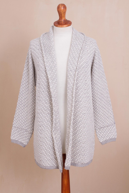 Off-White and Grey Alpaca Blend Relaxed Fit Cardigan Sweater 'Dove Down'