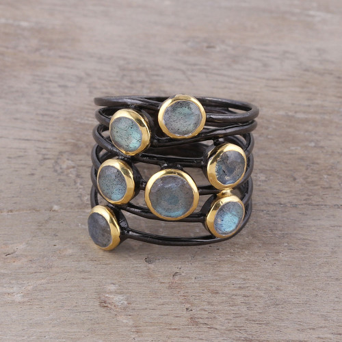 Gold Accent Labradorite Multi-Stone Cocktail Ring from India 'Dewy Morn'