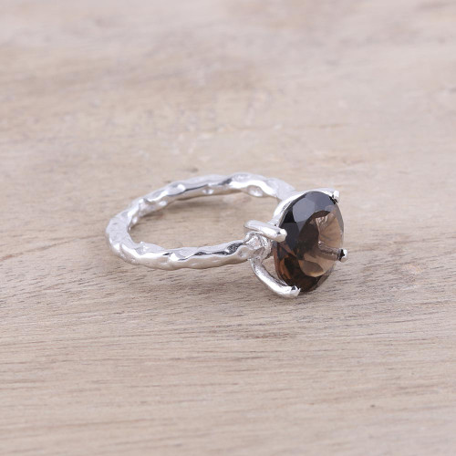 Rhodium Plated Smoky Quartz Solitaire Ring from India 'Elegant Dazzle'