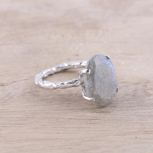 Rhodium Plated Labradorite Single-Stone Ring from India 'Aurora Bliss'