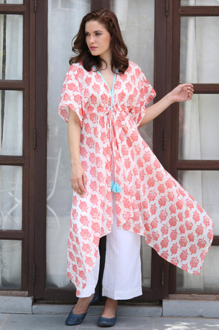 White Red and Turquoise Floral Cotton Long Caftan 'Strawberry Flowers'