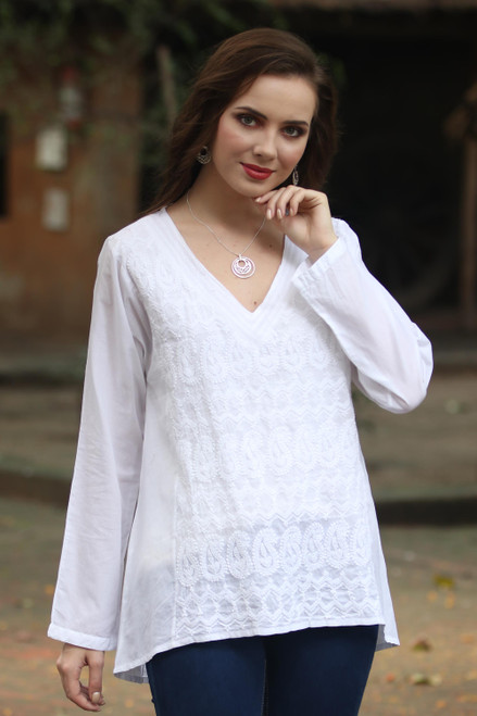 Paisley Motif Embroidered Cotton Tunic from India 'Paisley Creativity'