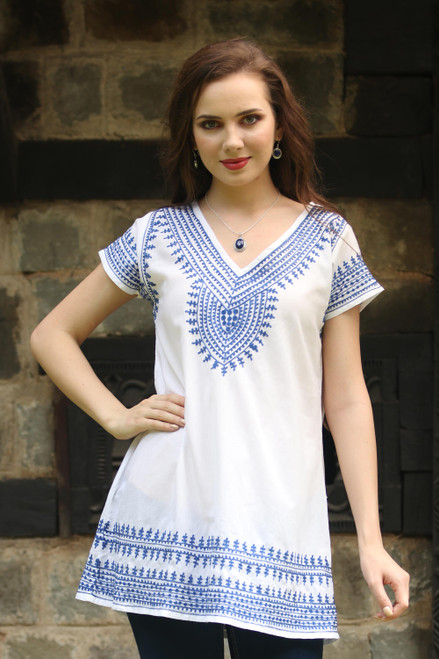 White Cotton Tunic with Indian Embroidery Designs in Blue 'Blue on White Elegance'
