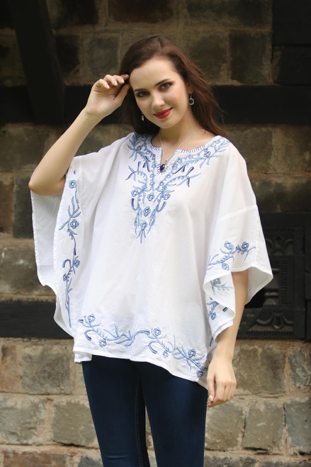 Short Sleeve Floral White Tunic Hand Embroidered in India 'Lucknow Beauty'
