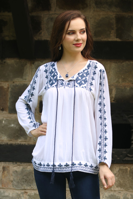 Embroidered Long Sleeved White and Navy Tunic from India 'Embroidered Blue'