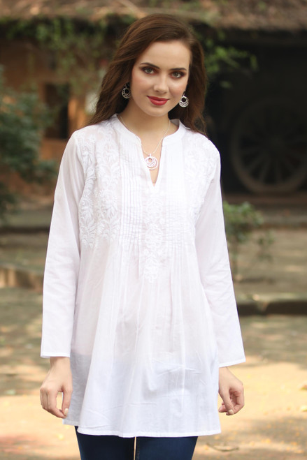 Long Sleeve Floral White Blouse Hand Embroidered in India 'Ethereal Bloom'