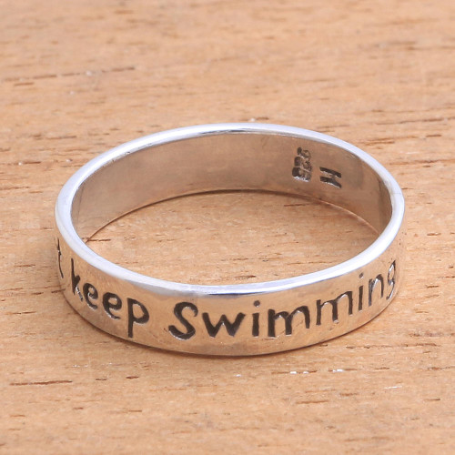 Inspirational Sterling Silver Band Ring from Bali 'Just Keep Swimming'