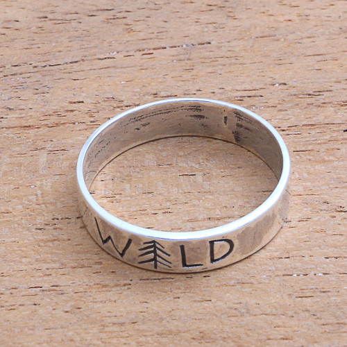 Sterling Silver Band Ring Crafted in Bali 'Wild Soul'