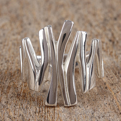 Modern Taxco Sterling Silver Cocktail Ring from Mexico 'Light of the Soul'