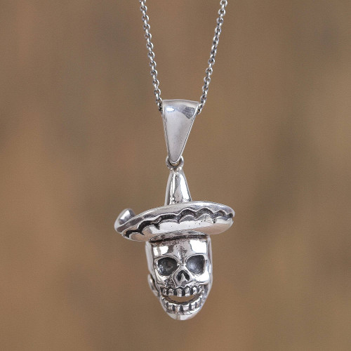 Sterling Silver Skull Pendant Necklace from Mexico 'Festive Catrin'