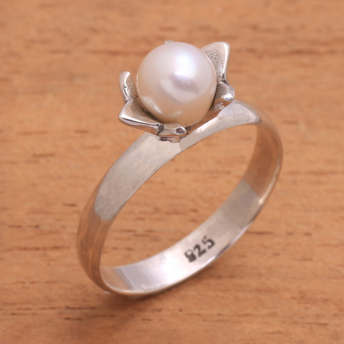 Floral Cultured Pearl Cocktail Ring from Bali 'Blooming Light'