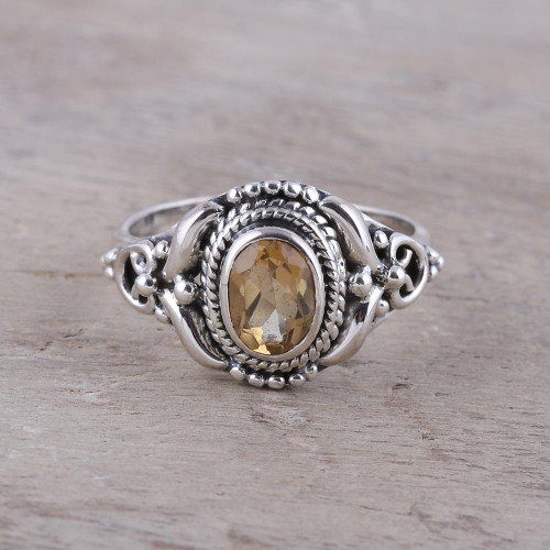 Traditional Citrine Cocktail Ring from India 'Traditional Romantic'