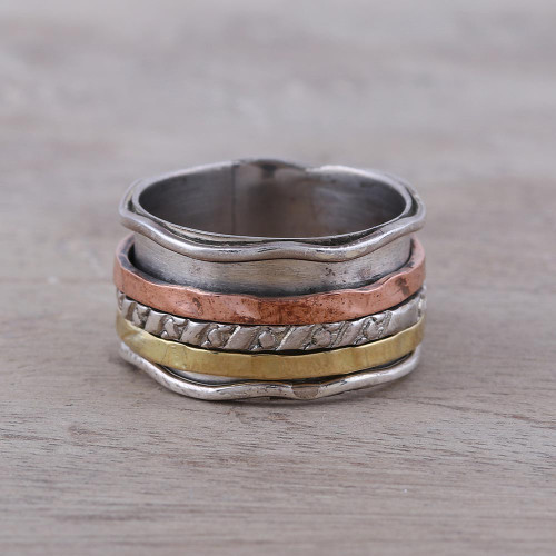 Handcrafted Sterling Silver Copper and Brass Meditation Ring 'Spinning Trio'