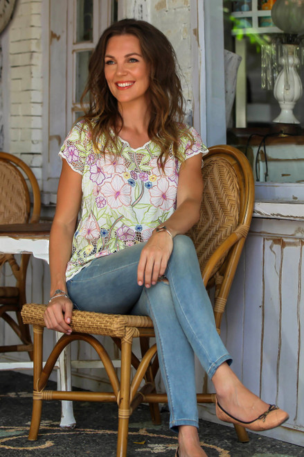 Colorful Floral Embroidered Rayon Blouse from Bali 'Springtime Mallow'