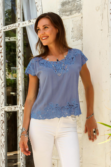 Floral Embroidered Rayon Blouse in Blue from Bali 'Blue Spruce Kusuma'