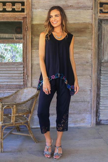 Floral Embroidered Rayon Pants in Onyx from Bali 'Onyx Padma Flower'