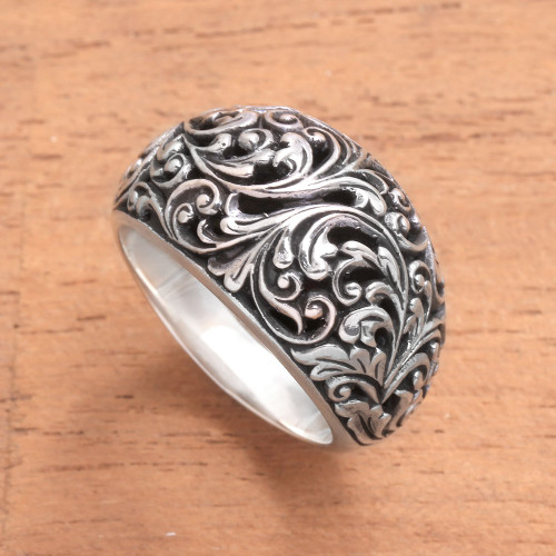 Leaf Pattern Sterling Silver Cocktail Ring from Java 'Borneo Forest'