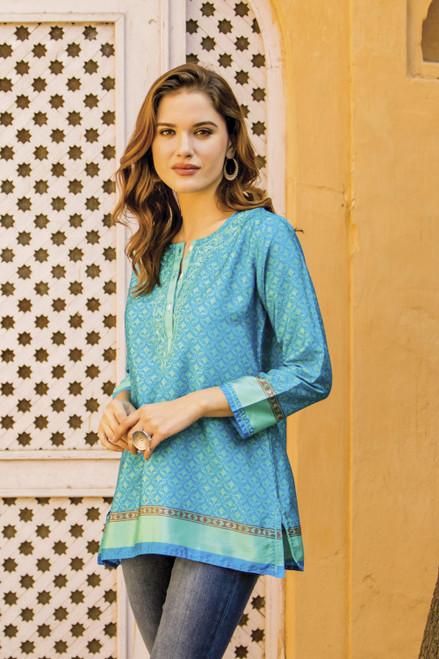 Embroidered Tunic in Azure and Aqua from India 'Flowers of the Sea'