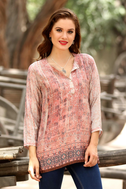 Embroidered Tunic in Petal Pink and Cream from India 'Antique Petal'