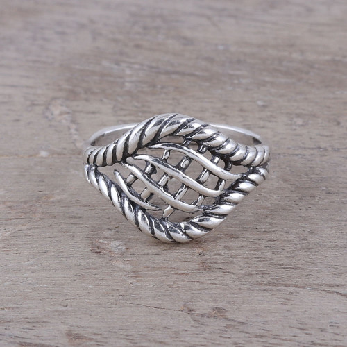 Woven Motif Sterling Silver Cocktail Ring from India 'Intertwined Elegance'
