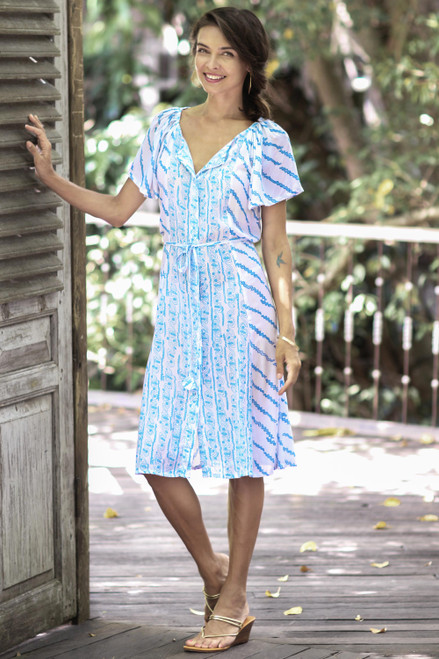 Printed Rayon Tunic-Style Dress in Azure from Bali 'Azure Helix'
