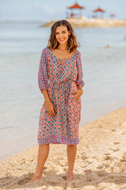 Printed Rayon Tunic-Style Dress Crafted in Bali 'Kelud Crisscross'