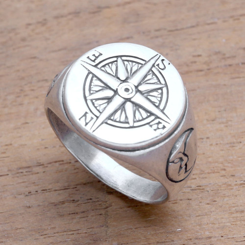Men's Sterling Silver Compass Signet Ring from Bali 'Light the Way'