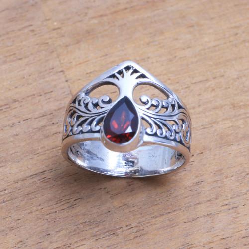 Tree-Themed Garnet Band Ring from India 'Enchanting Tree'