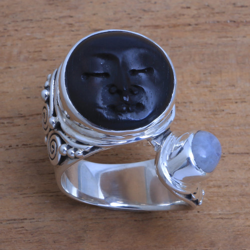Bali Rainbow Moonstone and Ebony Wood Face Cocktail Ring 'Night Face'