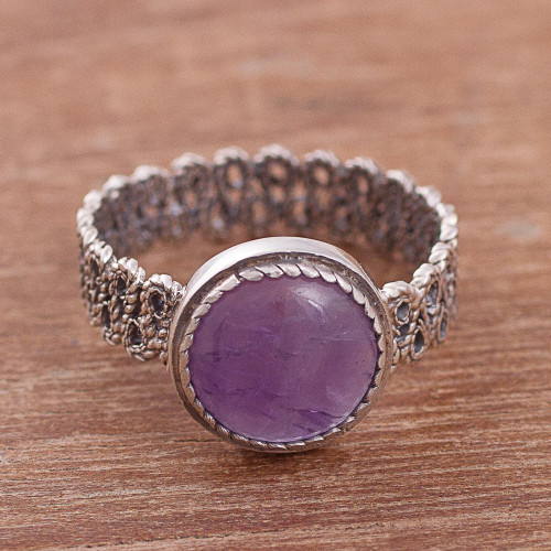 Natural Amethyst Cocktail Ring from Peru 'Amethyst Power'