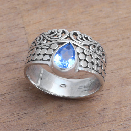 Circle Motif Blue Topaz Band Ring from Bali 'Temple Stones'