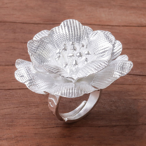 Handcrafted Sterling Silver Flower Cocktail Ring 'Nice Flower'