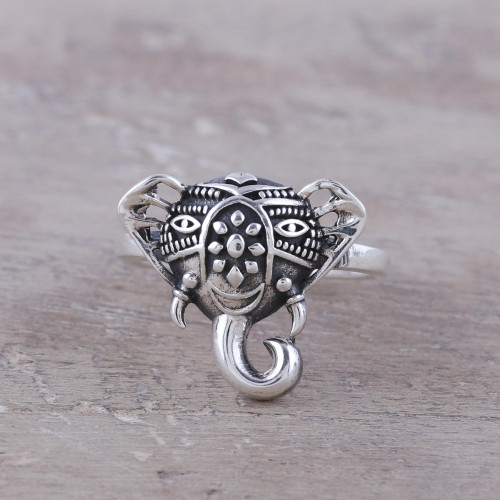 Handcrafted Sterling Silver Smiling Elephant Cocktail Ring 'Delighted Elephant'