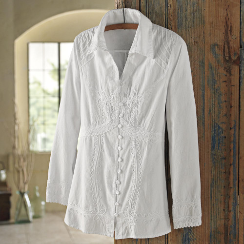 Lily of the Incas Button-front White Blouse 'Lily of the Incas'