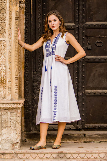 Cotton Dress with Geometric Lapis Embroidery 'Moroccan Glamour'