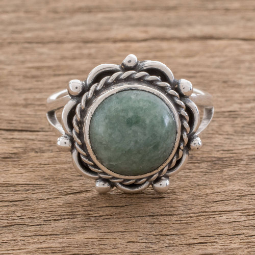 Natural Jade Cocktail Ring Crafted in Guatemala 'Sunrise in Antigua'
