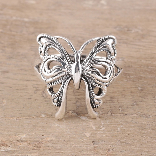Butterfly Sterling Silver Band Ring from India 'Butterfly Companion'