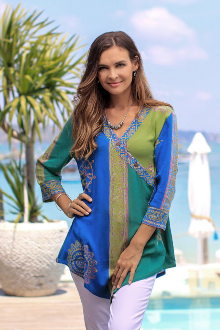 Green and Blue Hand Batik Textured Rayon Flowing Tunic 'Color Symphony in Green'