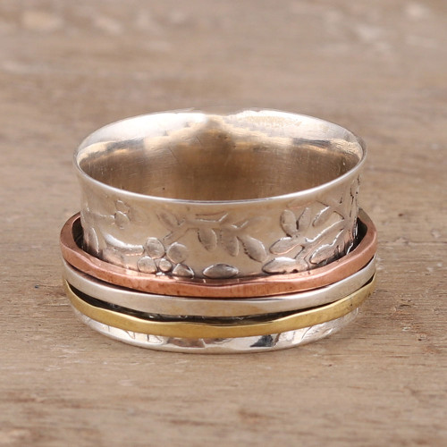 Floral Sterling Silver Spinner Ring from India 'Floral Rush'