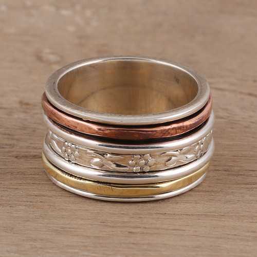Sterling Silver Spinner Ring Crafted in India 'Exciting Garden'