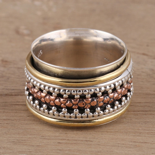 Dot Motif Sterling Silver Spinner Ring from India 'Royal Trance'