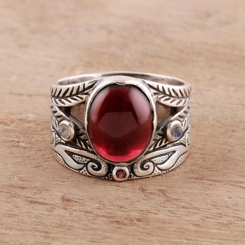Multi-Gemstone Ring Crafted in India 'Fiery Strength'