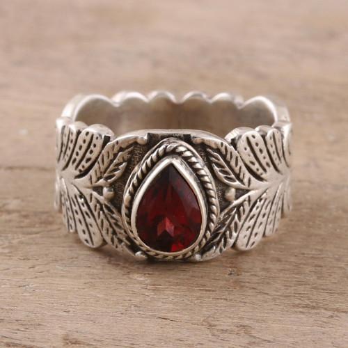Teardrop Garnet Band Ring Crafted in India 'Energetic Drop'