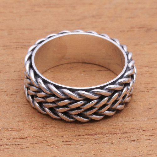 Foxtail Pattern Sterling Silver Band Ring from Bali 'Foxtail Twins'