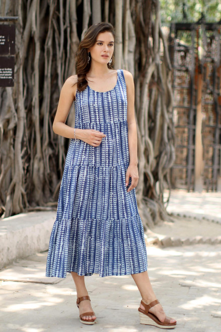 Diamond Motif Printed Cotton Sundress from India 'Indian Indigo'