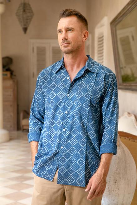 Block-Printed Men's Cotton Shirt from India 'Bold Diamonds'
