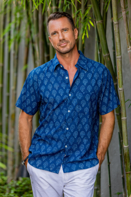 Men's Block-Printed Indigo Cotton Shirt from India 'Indigo Joy'