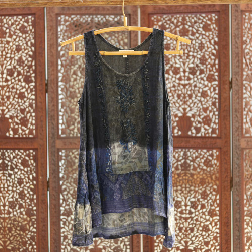 Tie-Dyed Blue Rayon High Low Tank Top 'Blue Fusion'